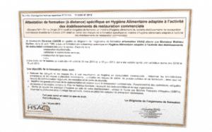 Attestation spécifique de formation à l'hygiène alimentaire adaptée aux établissements de la restauration commerciale